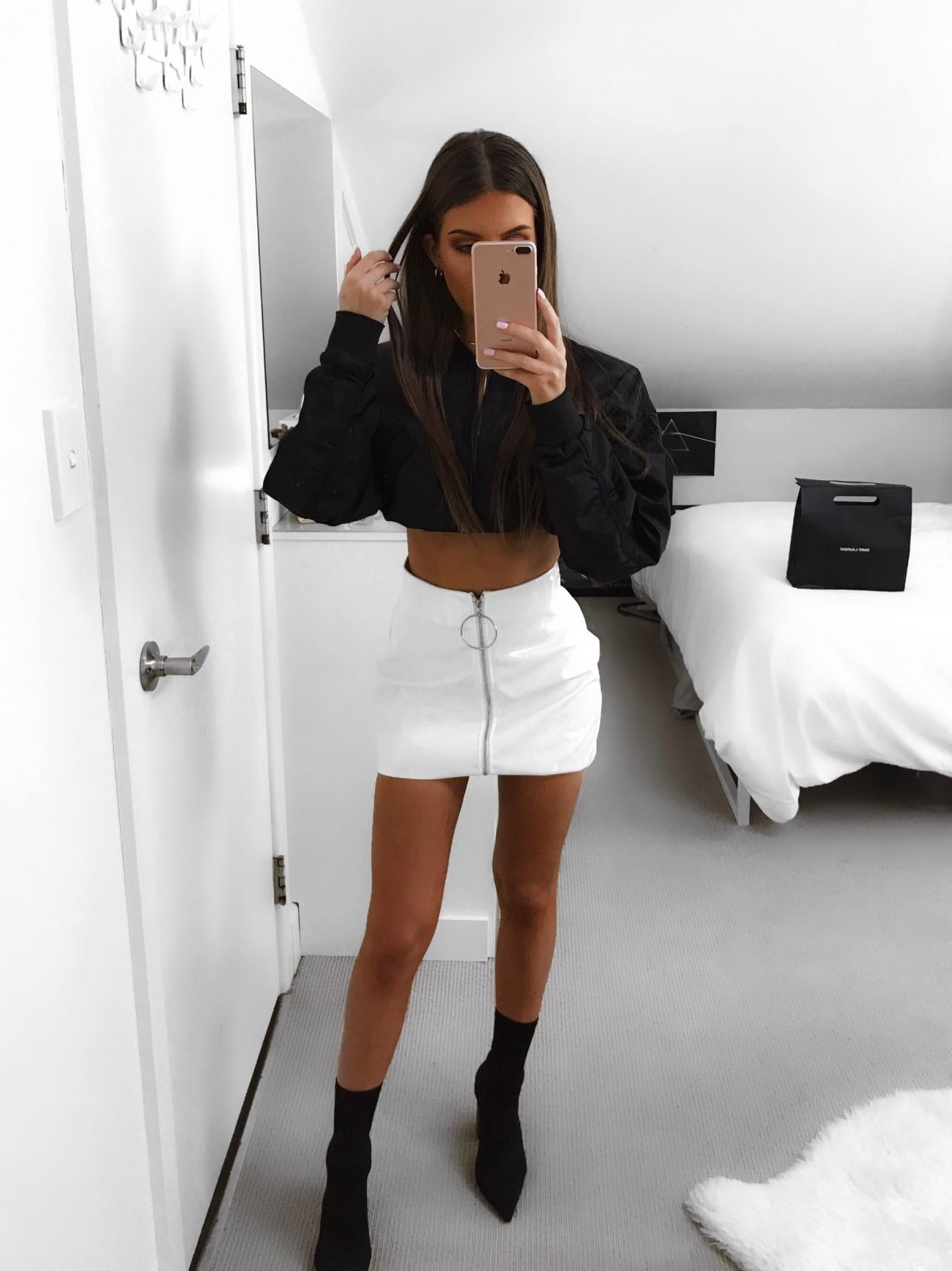 front zipper white leather mini skirt