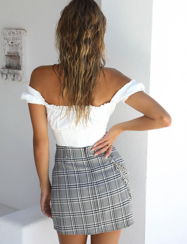 gray plaid mini skirt