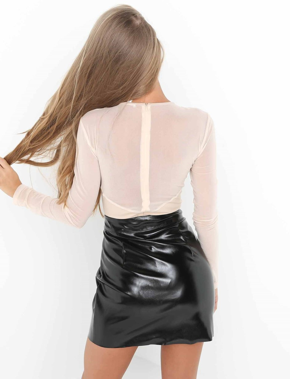 high waist black leather skirt