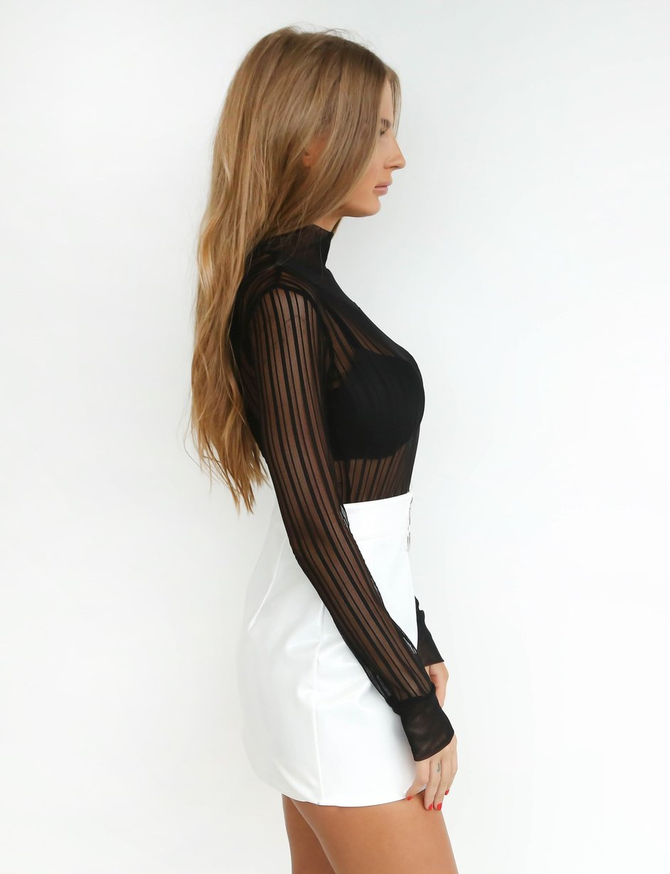 high waist white leather skirt