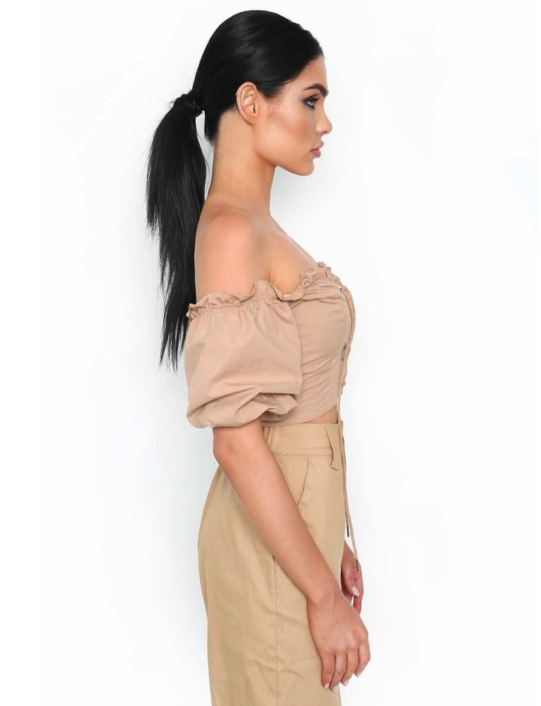 khaki off shoulder top