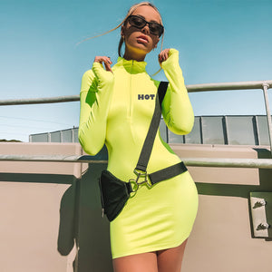 long sleeve neon yellow bodycon mini dress