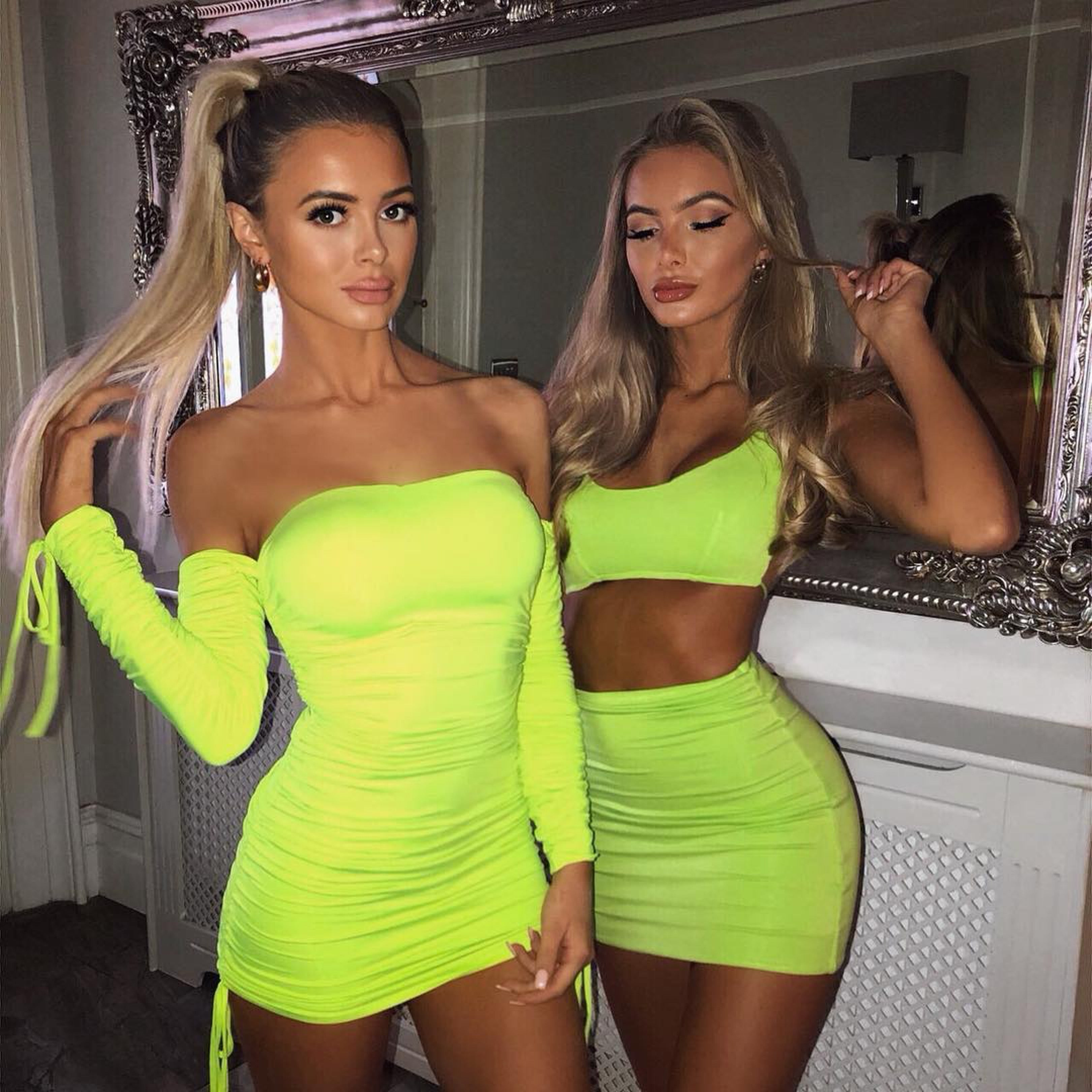 long sleeve ruched neon bodycon dress
