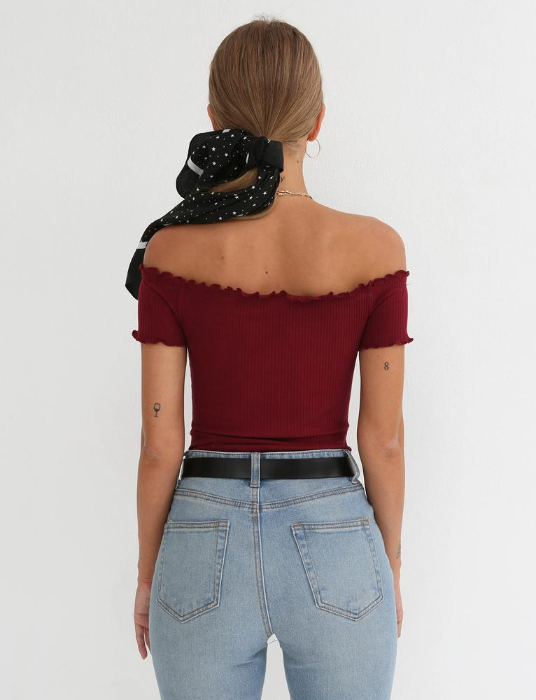 maroon off shoulder bodysuit