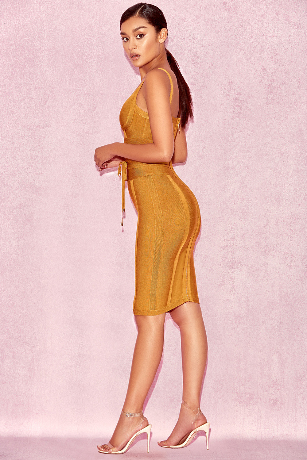 mustard bodycon dress