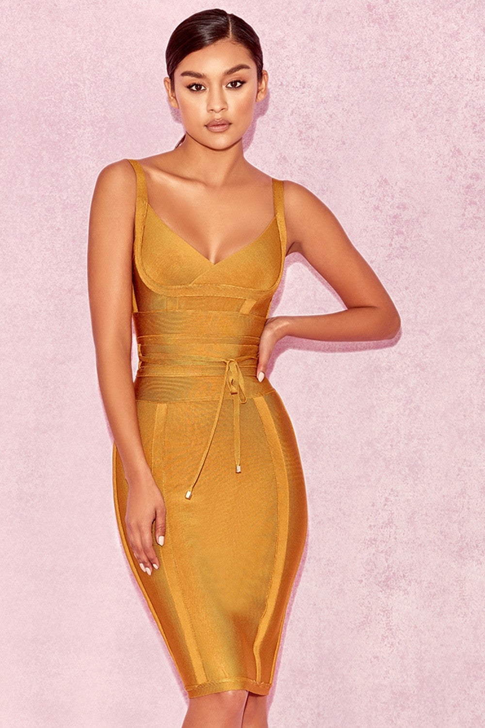 mustard color club dress
