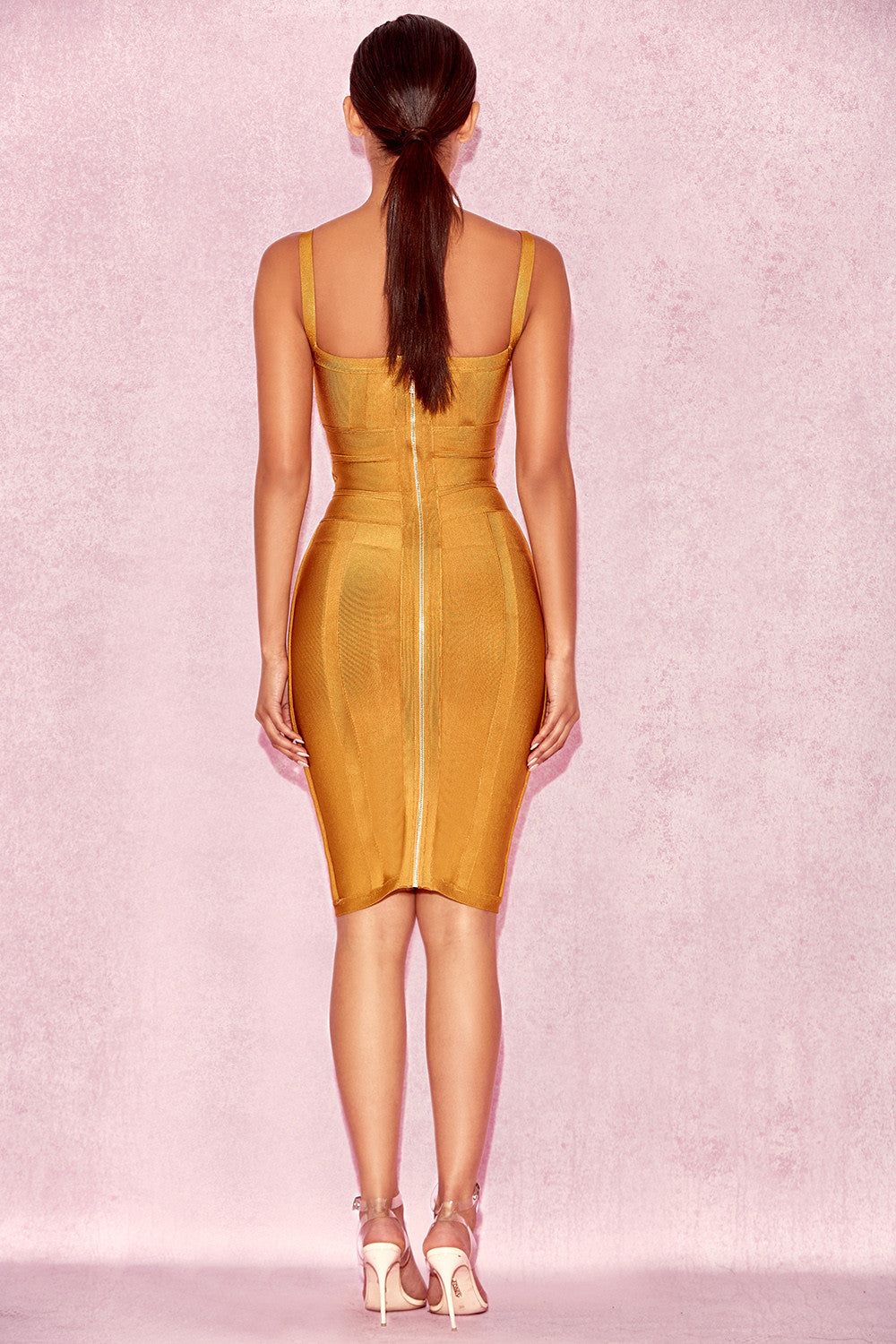 mustard yellow bandage dress