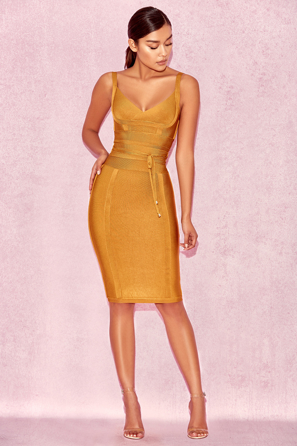 mustard yellow bodycon dress