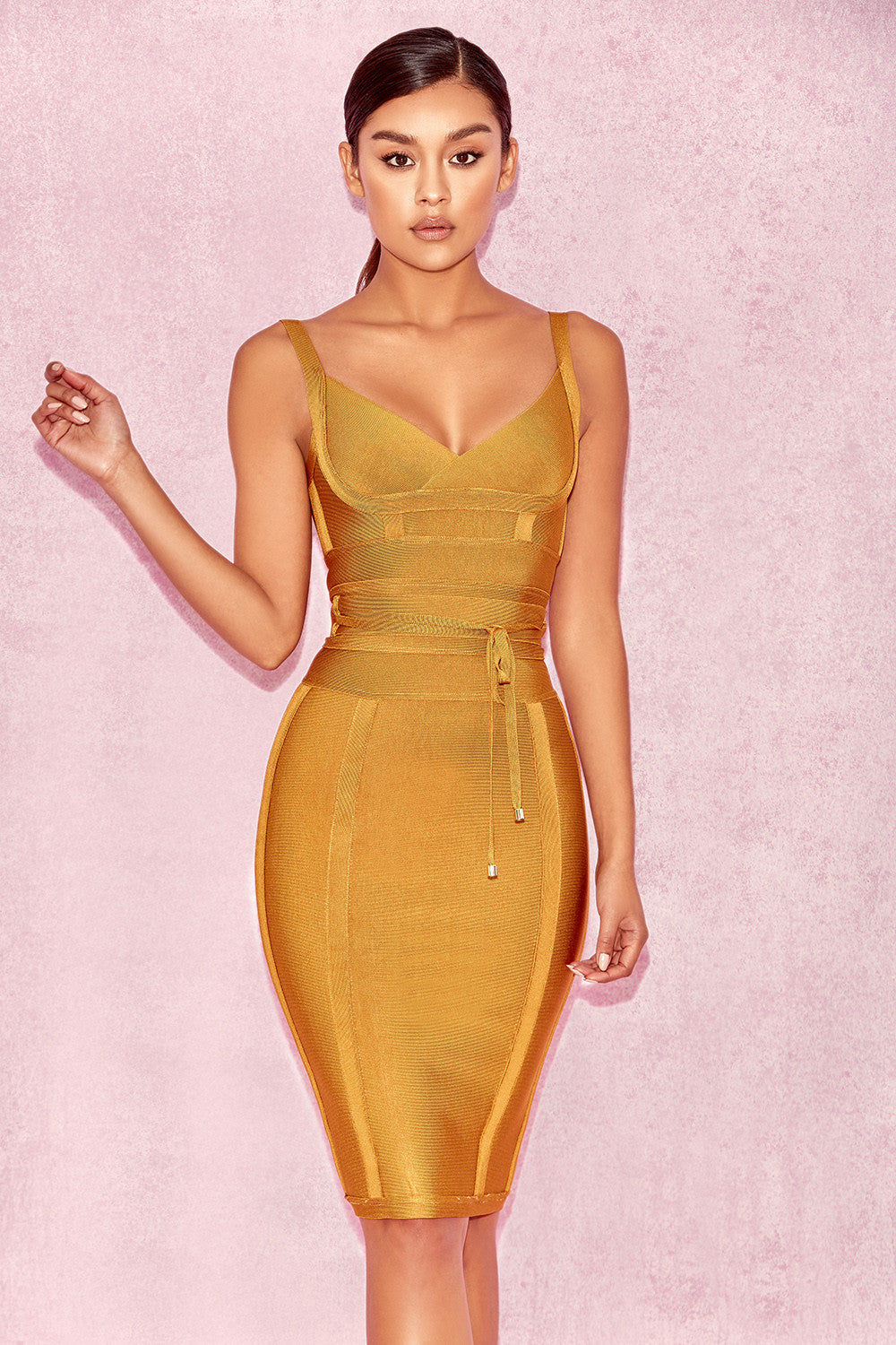 mustard yellow club dress