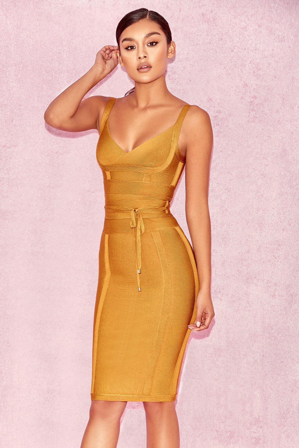mustard yellow party dress