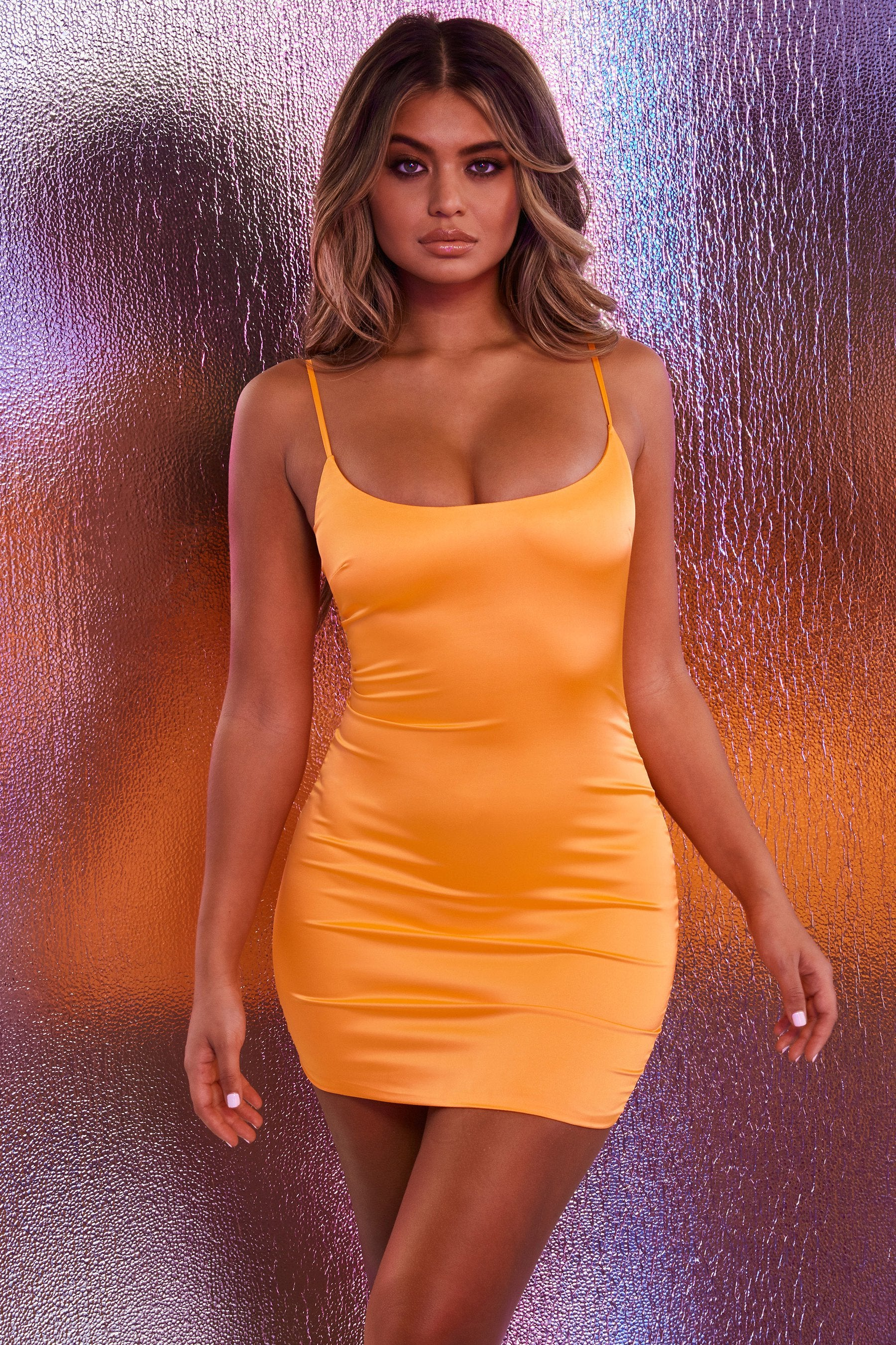 neon orange satin dress