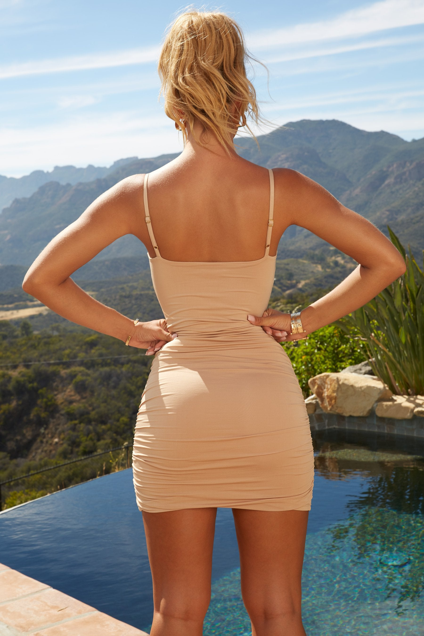 nude bodycon mini dress