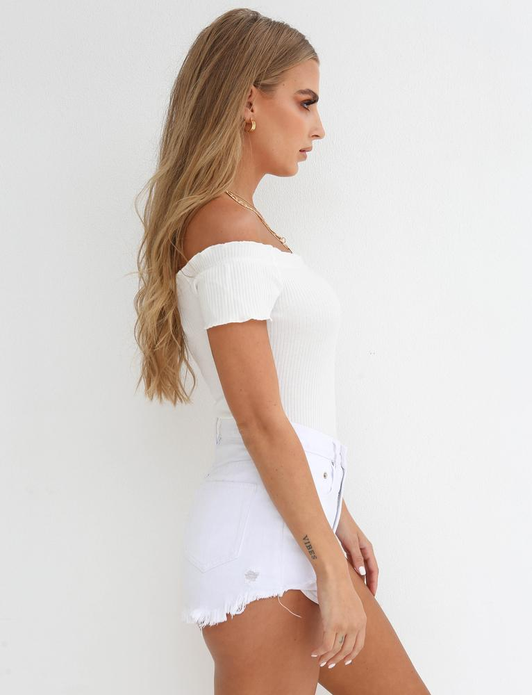 off white off shoulder bodysuit