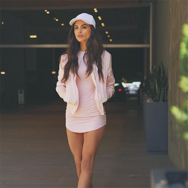pink long sleeve bodycon dress