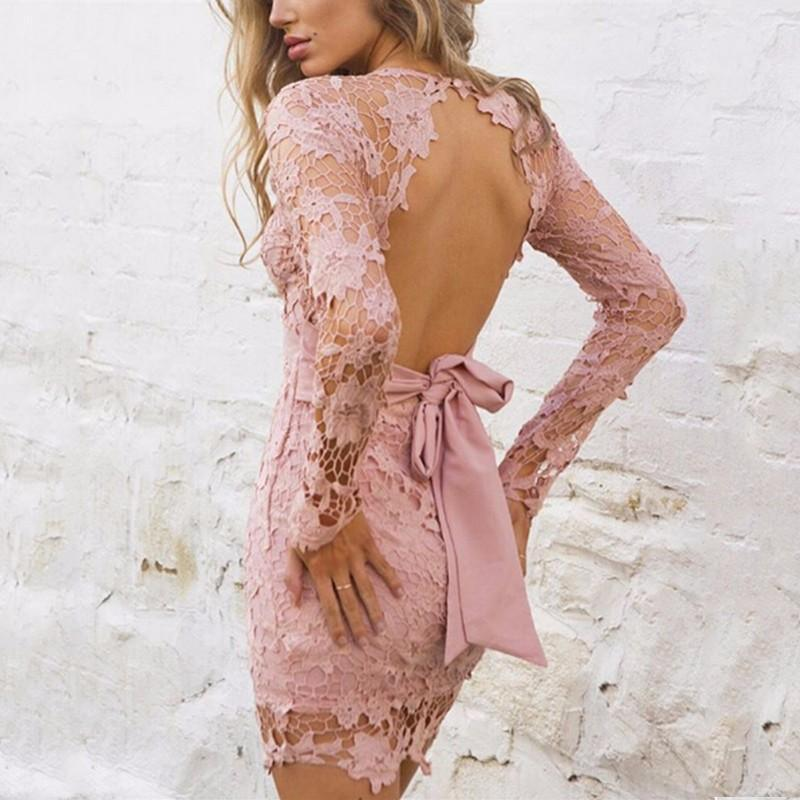pink open back lace dress