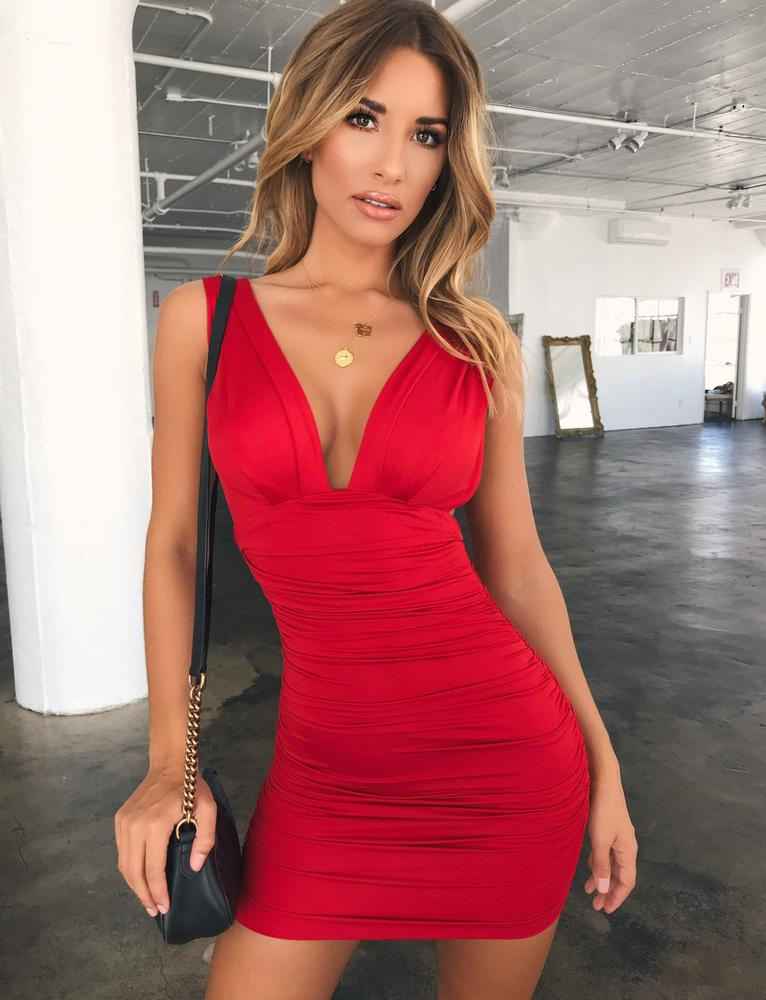 plunge bodycon dress