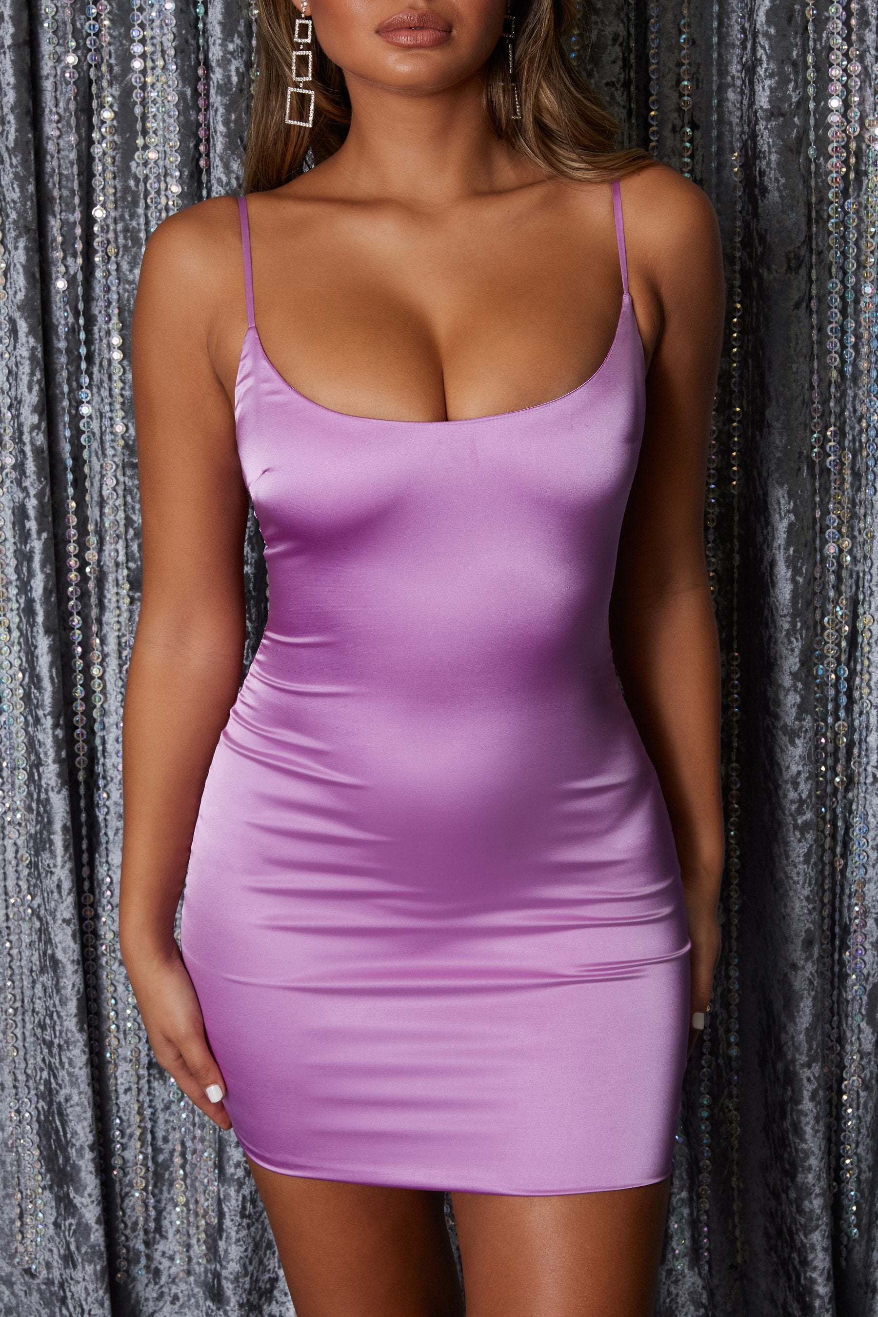 purple satin bodycon dress