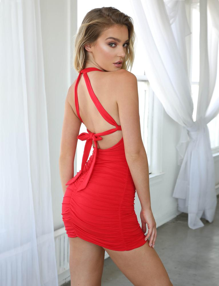 red back tie bodycon mini dress