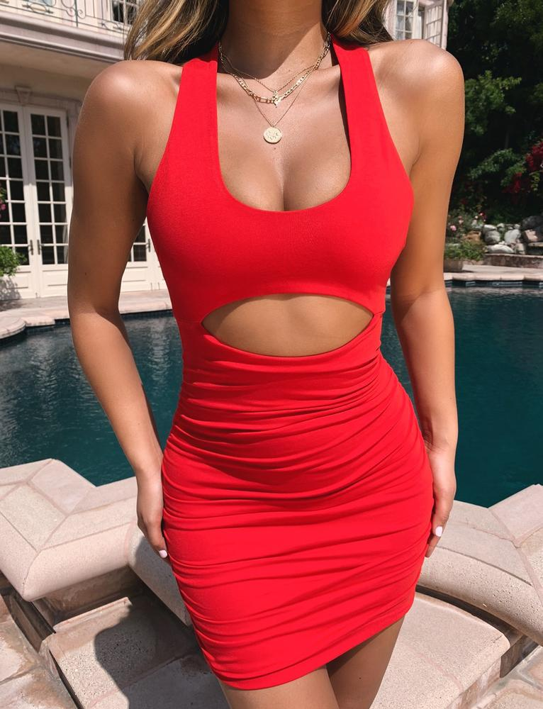 red cutout bodycon dress
