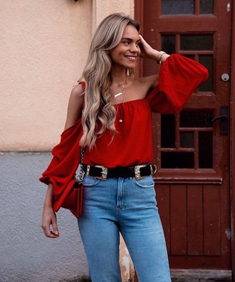 red off the shoulder draped top