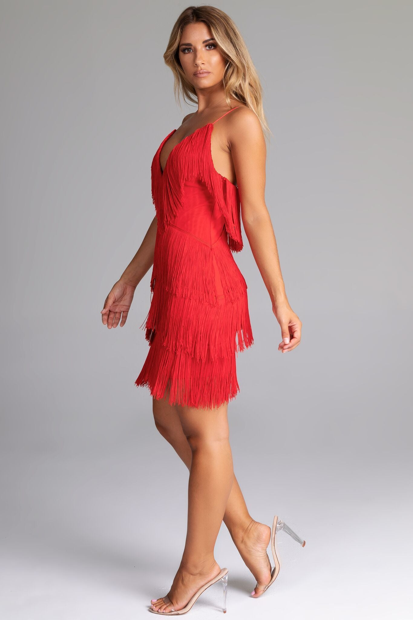 red fringe mini dress