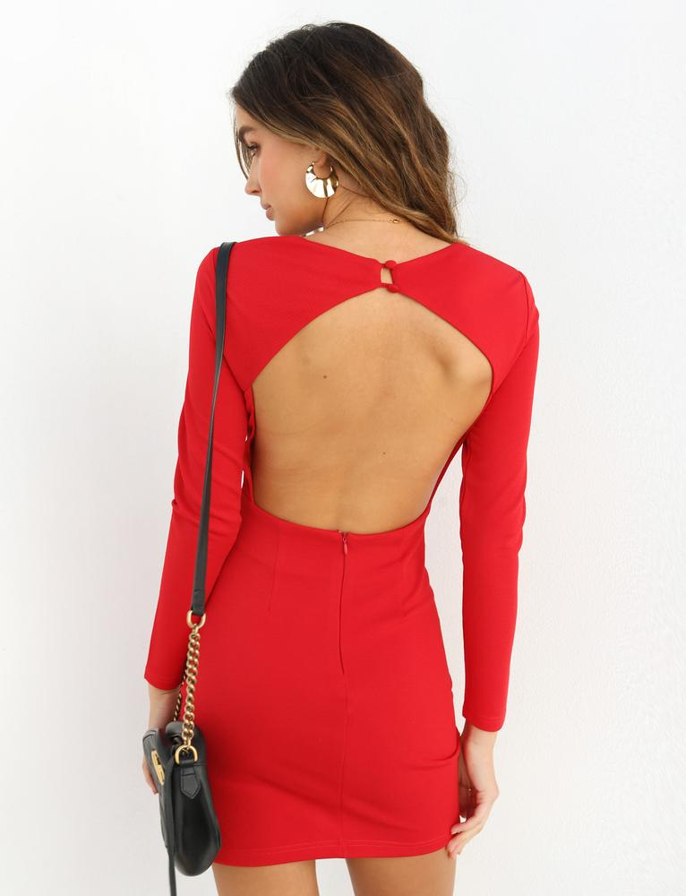 red long sleeve open back dress