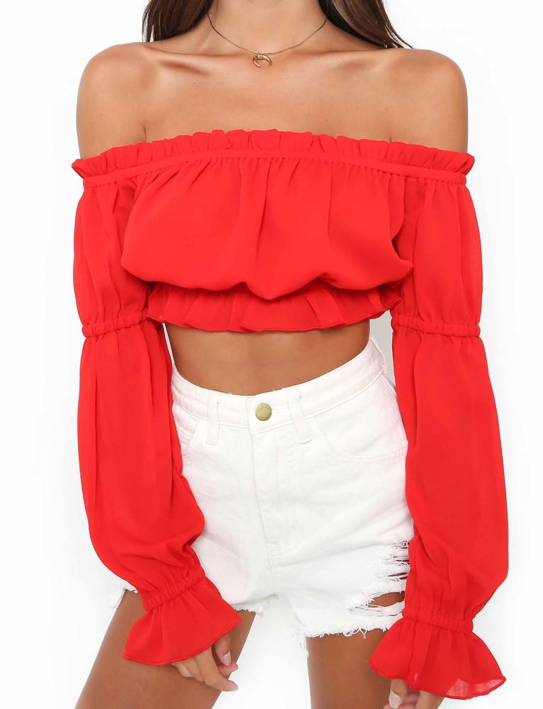 red off shoulder long sleeve crop top
