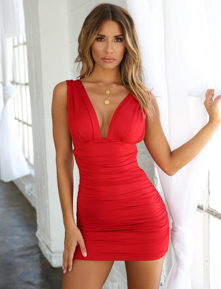 red plunge mini dress