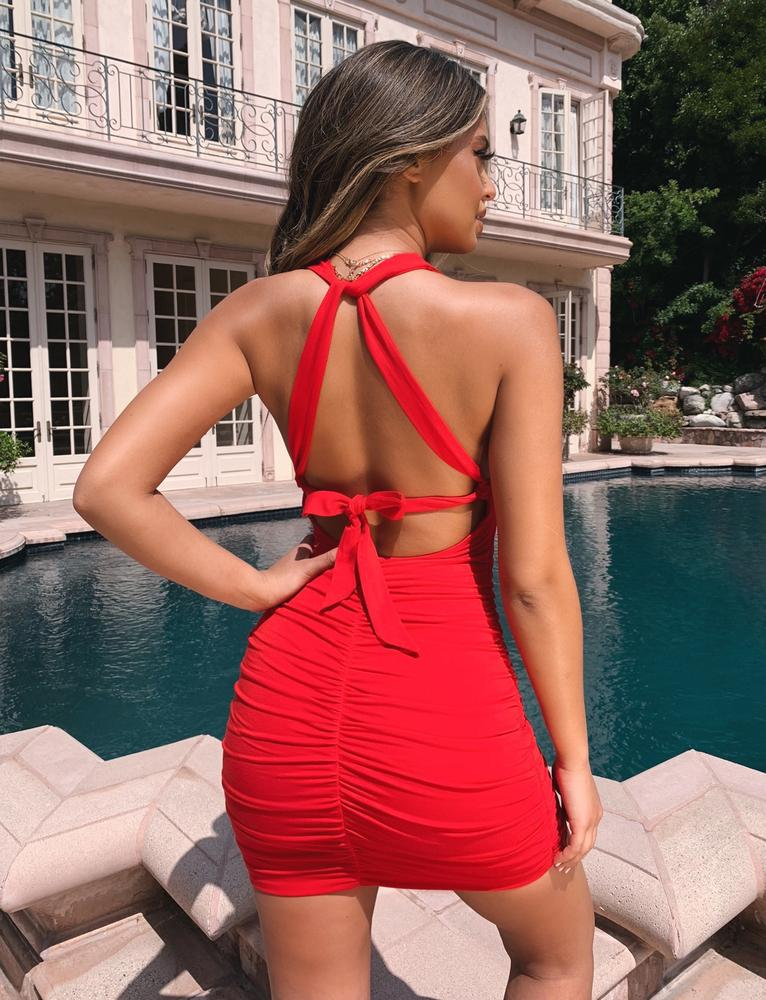 red tie back mini dress