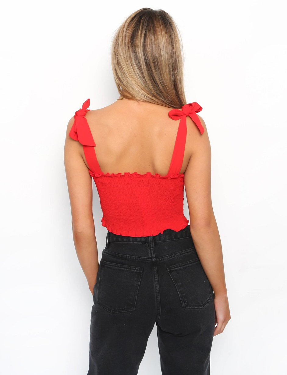 red tie shoulder crop top