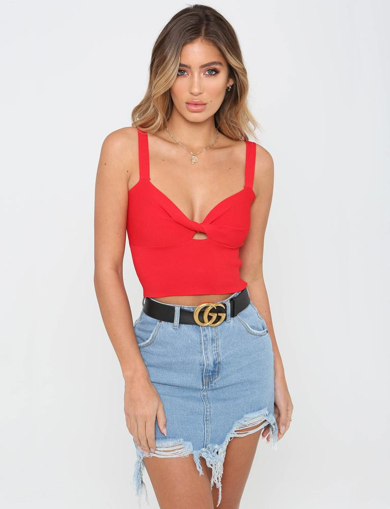 red twist front crop top