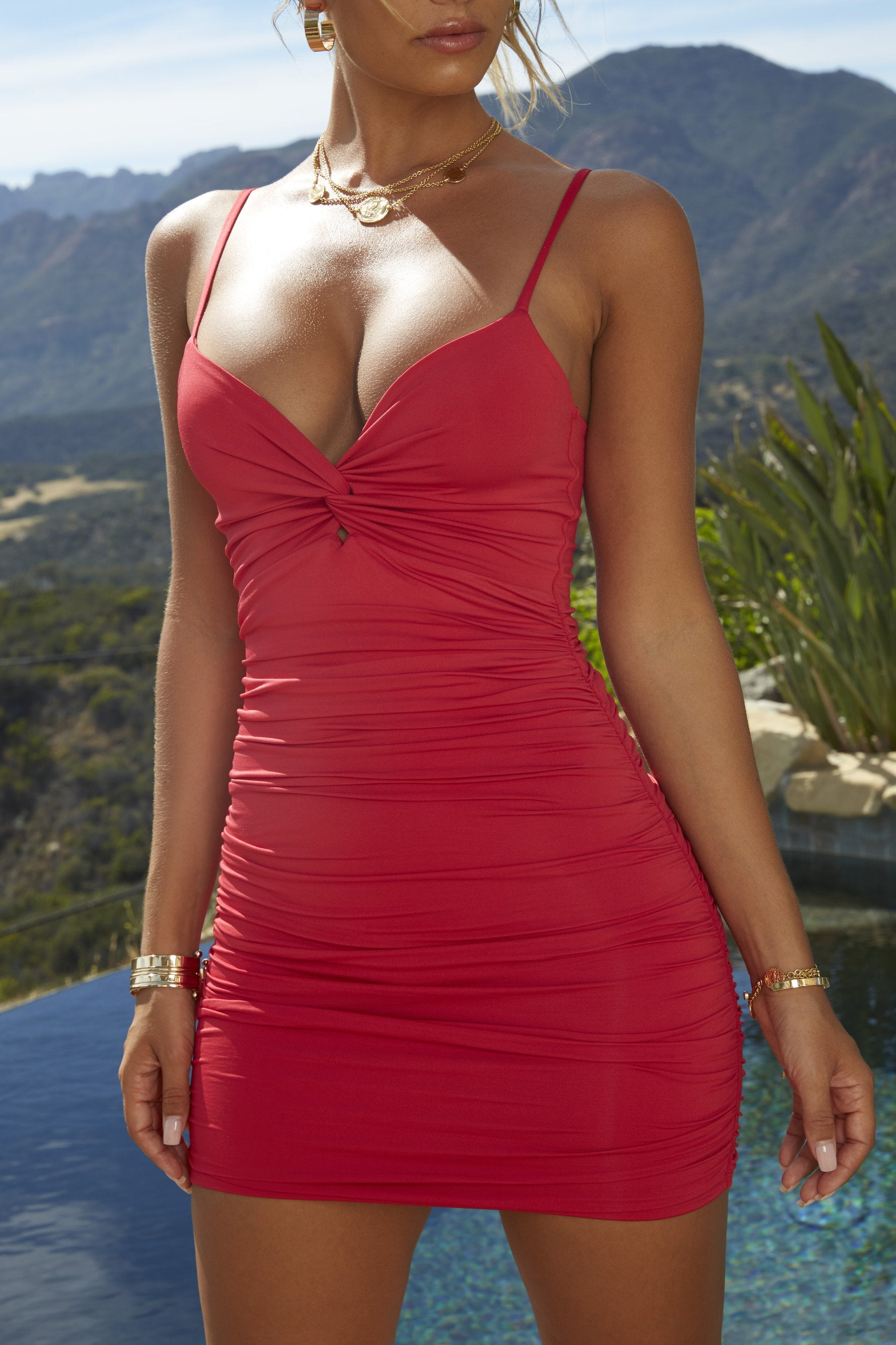 red twist front mini dress