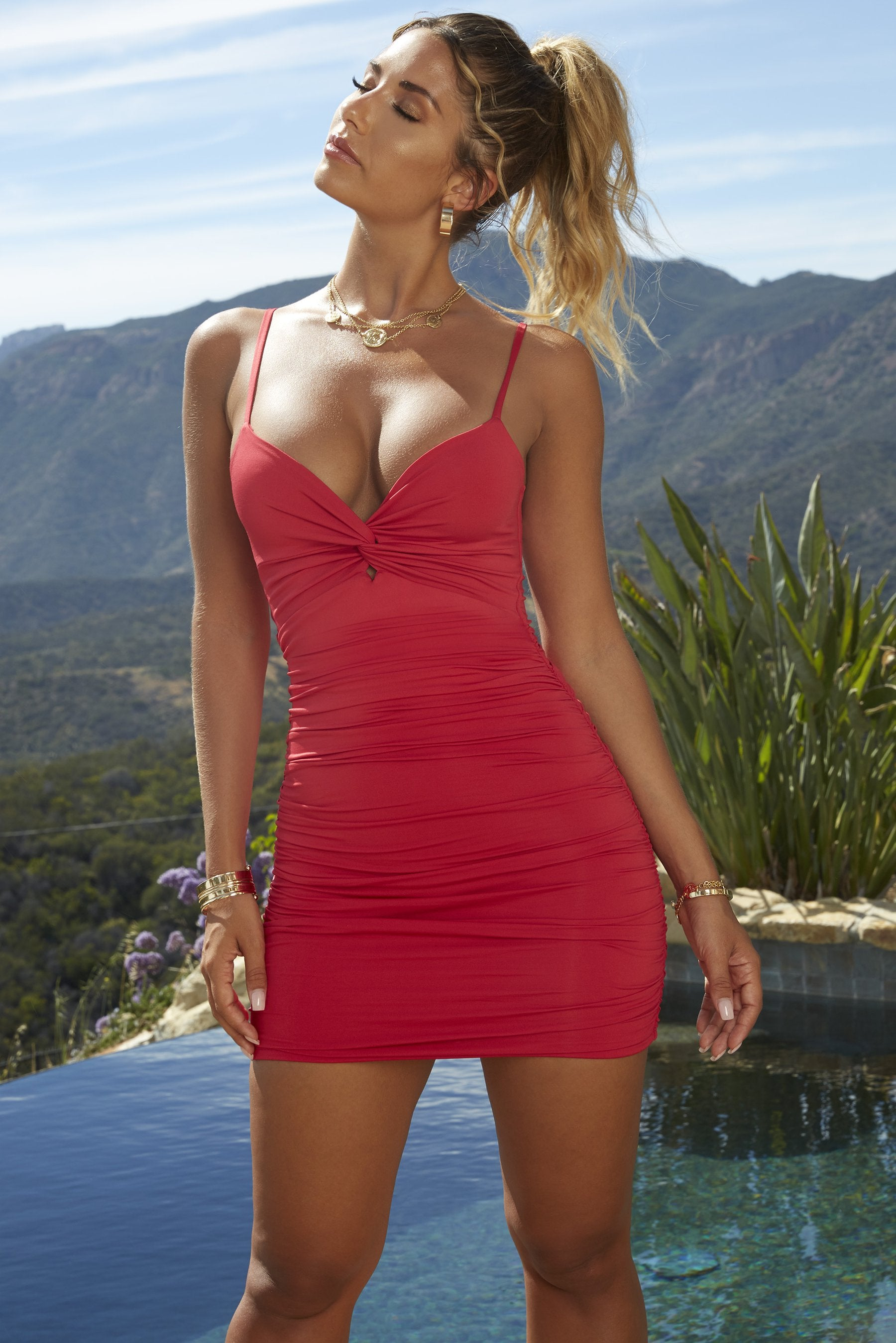 red twist top dress