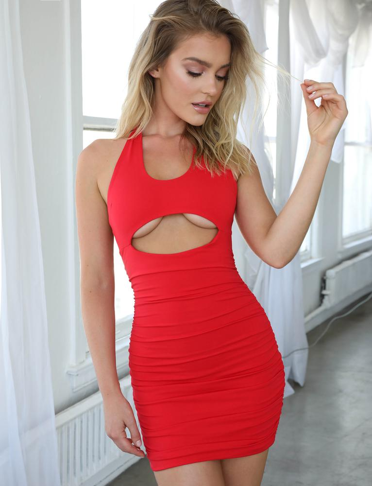 red underboob bodycon dress