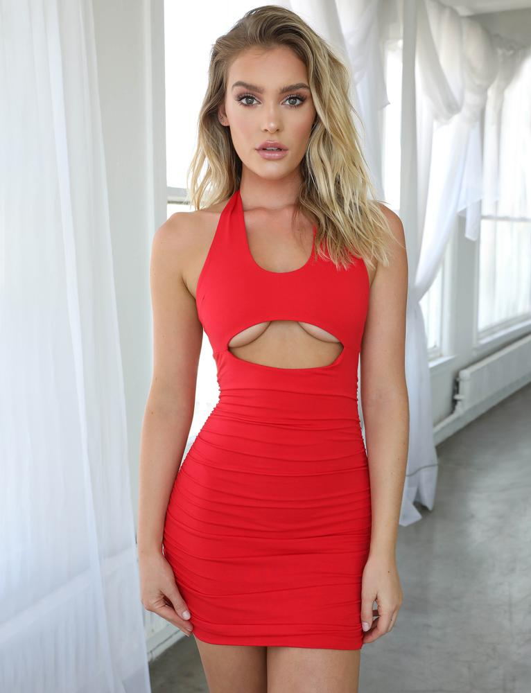 red underboob mini dress