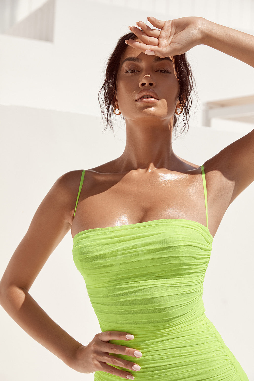 ruched neon green dress