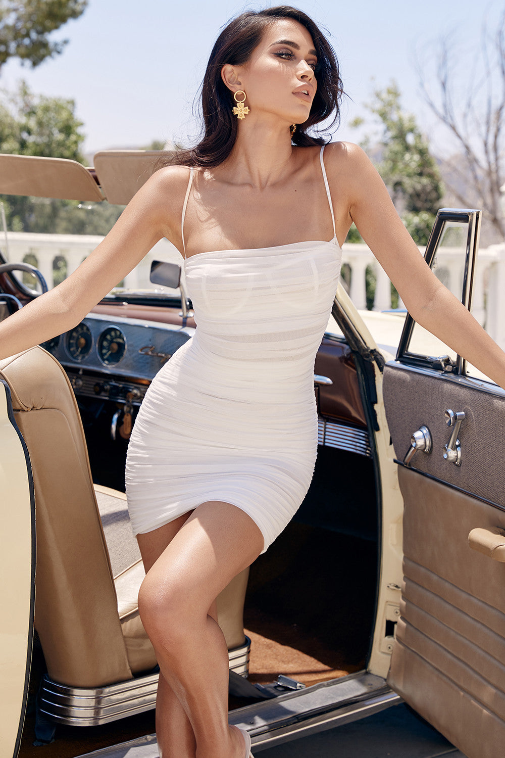 ruched white party dress