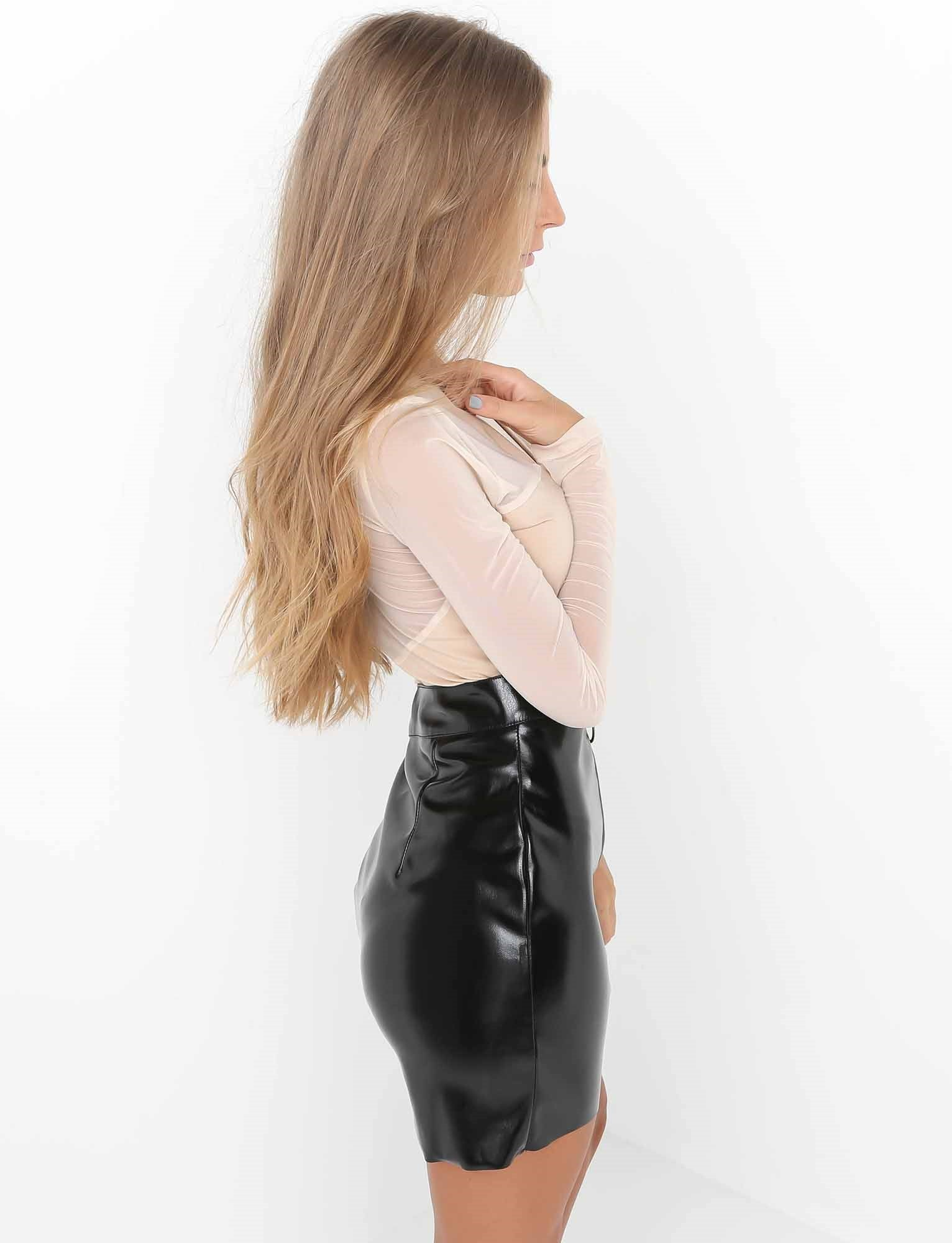 shiny leather skirt