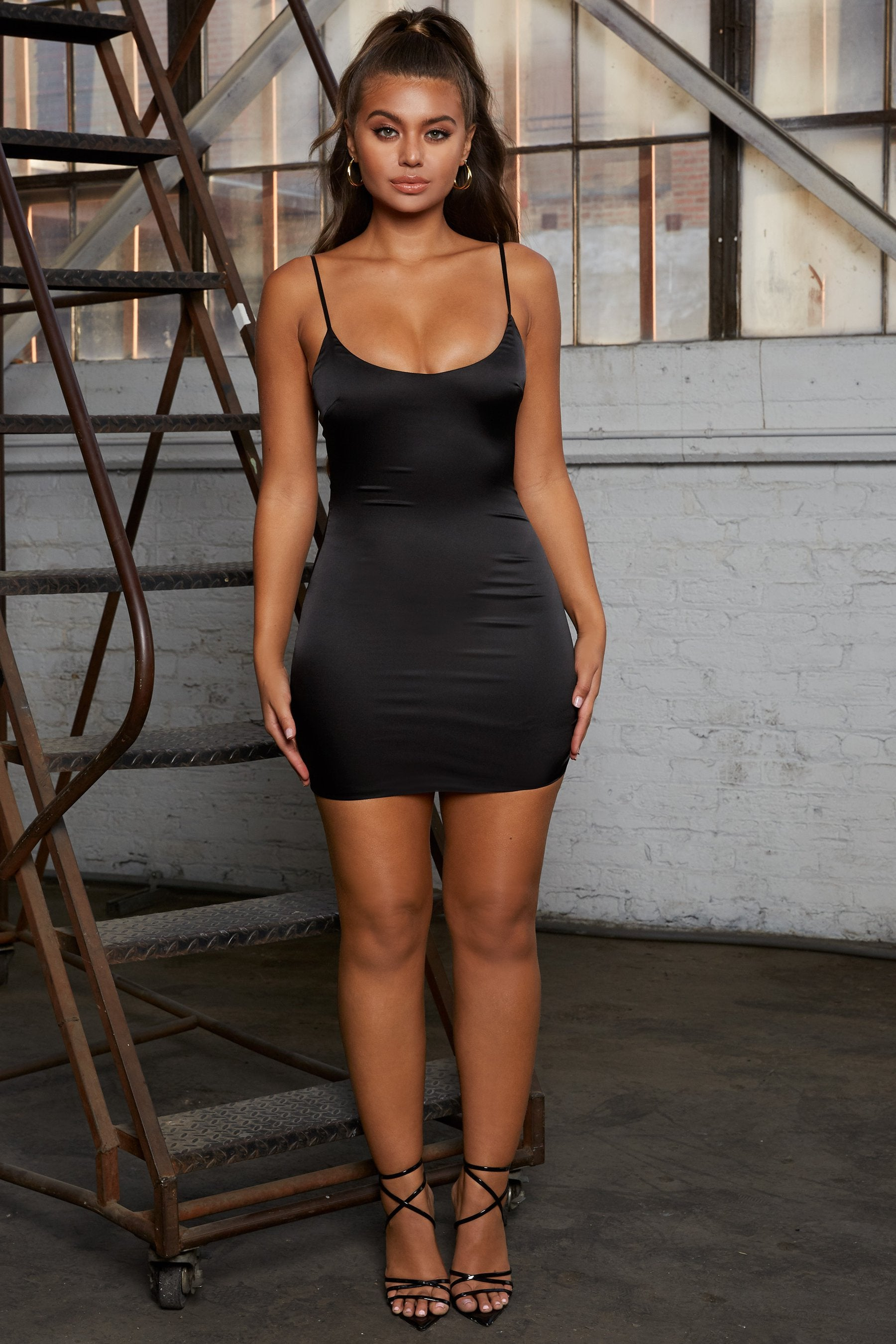 short black satin dress