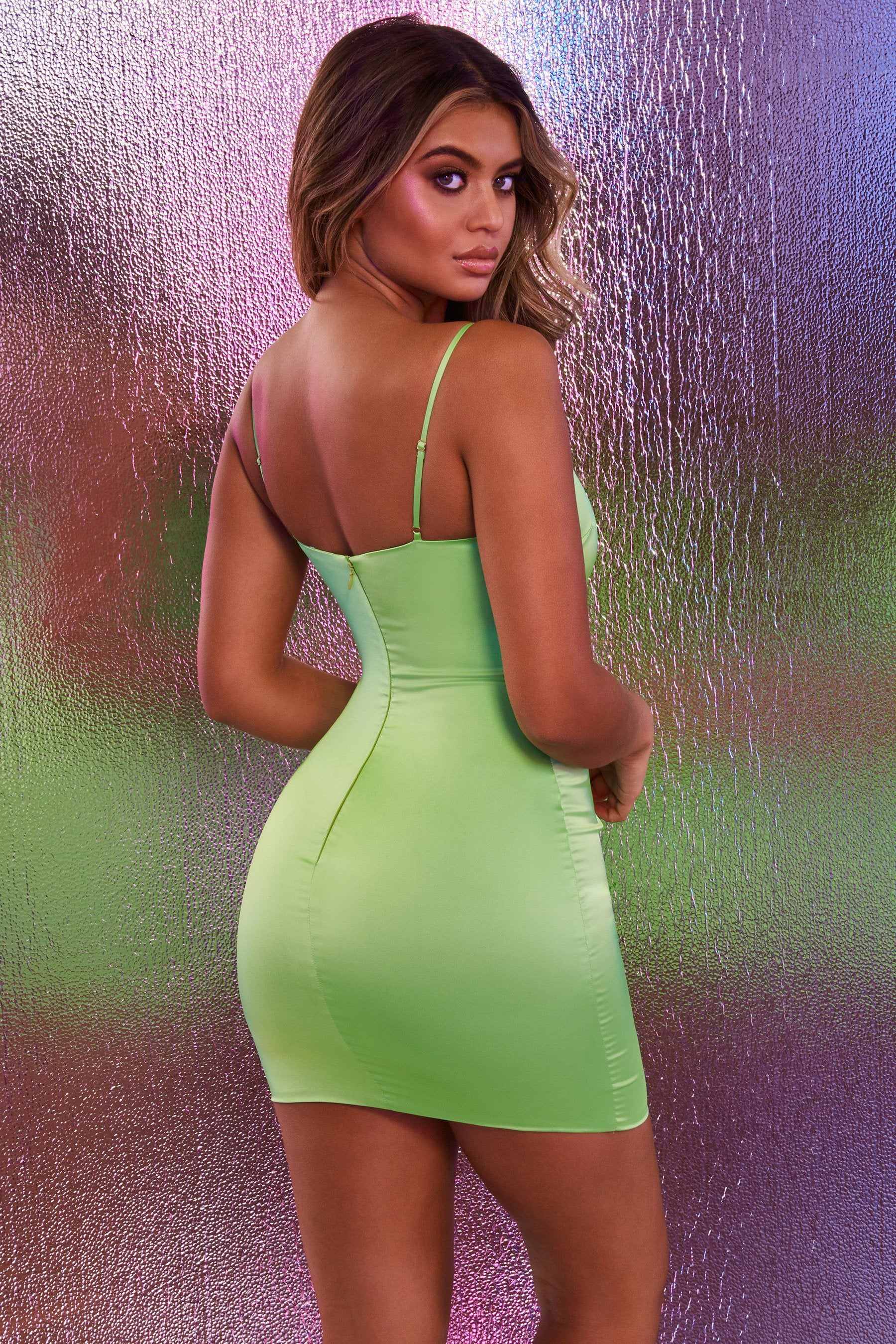 short neon green satin mini dress