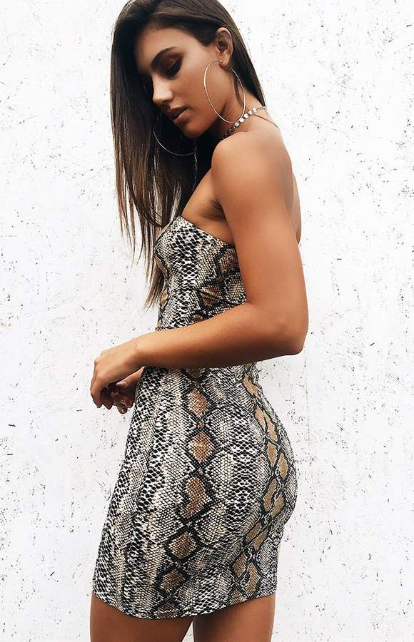 snakeskin tube dress