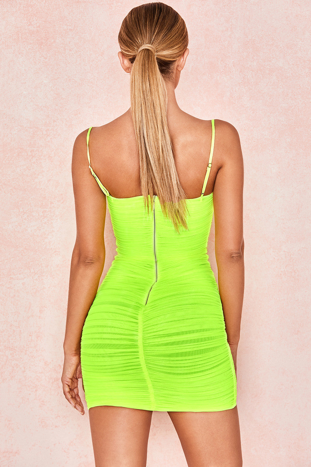 spaghetti strap neon green dress