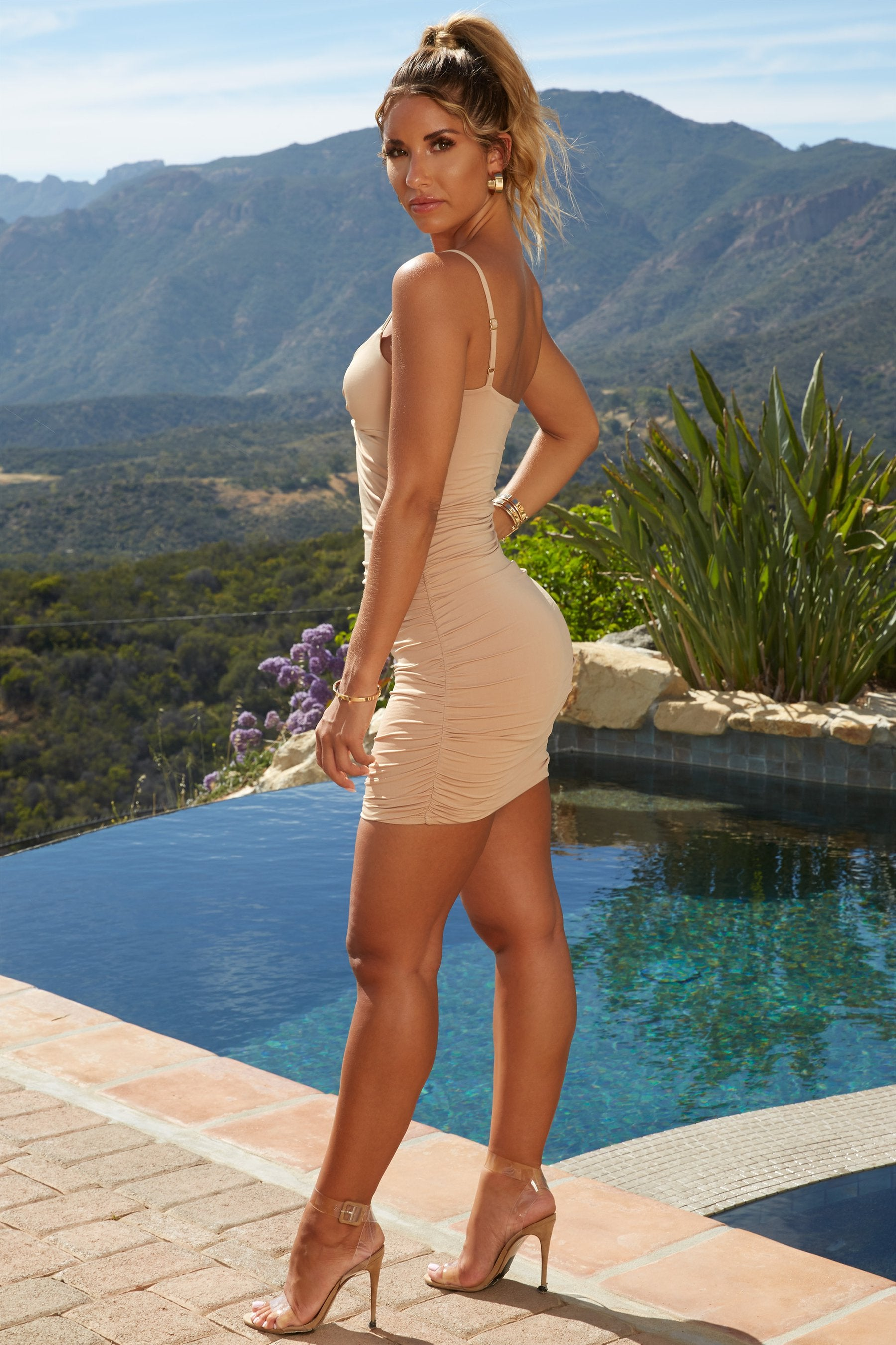 tan bodycon dress