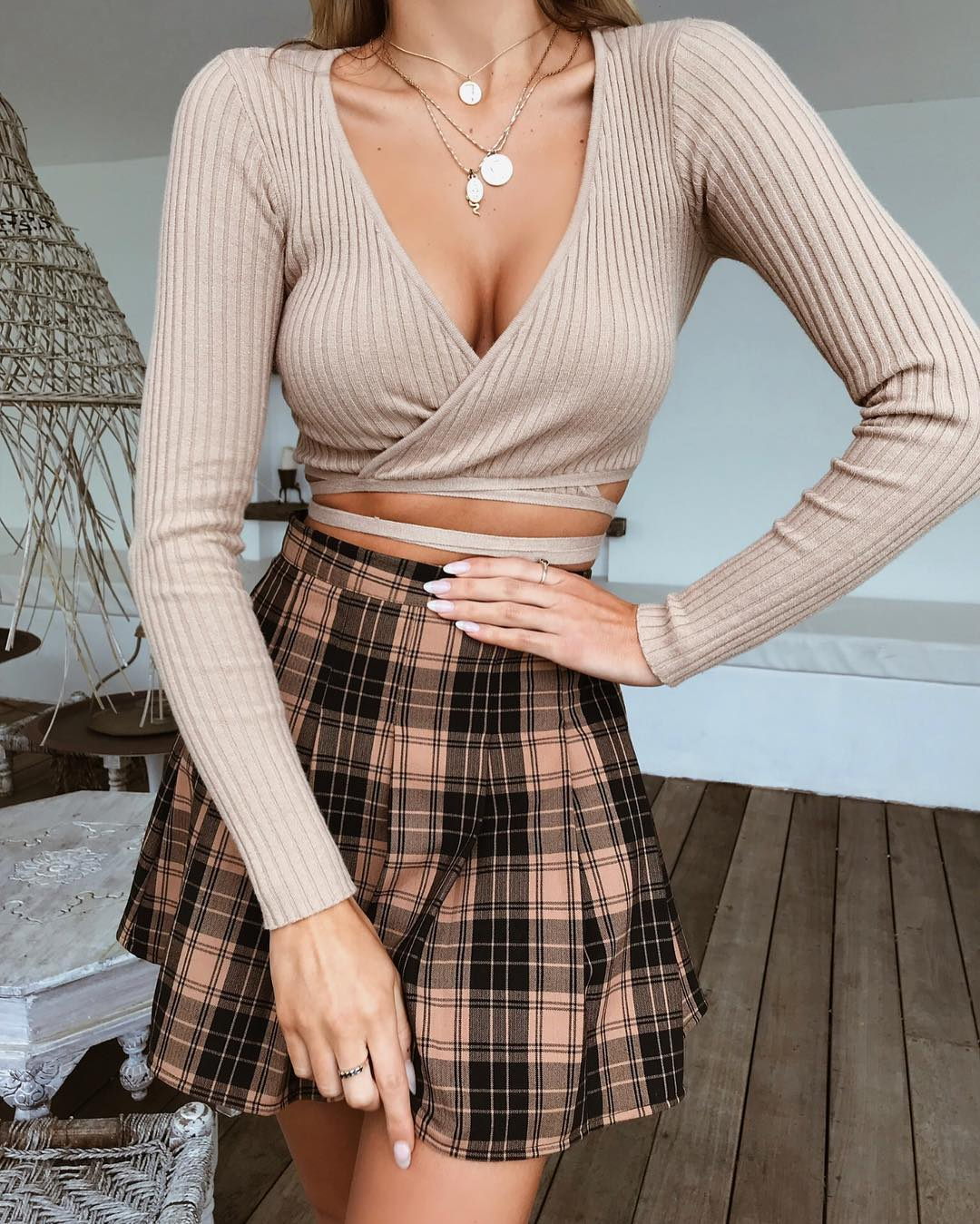 tan wrap crop top