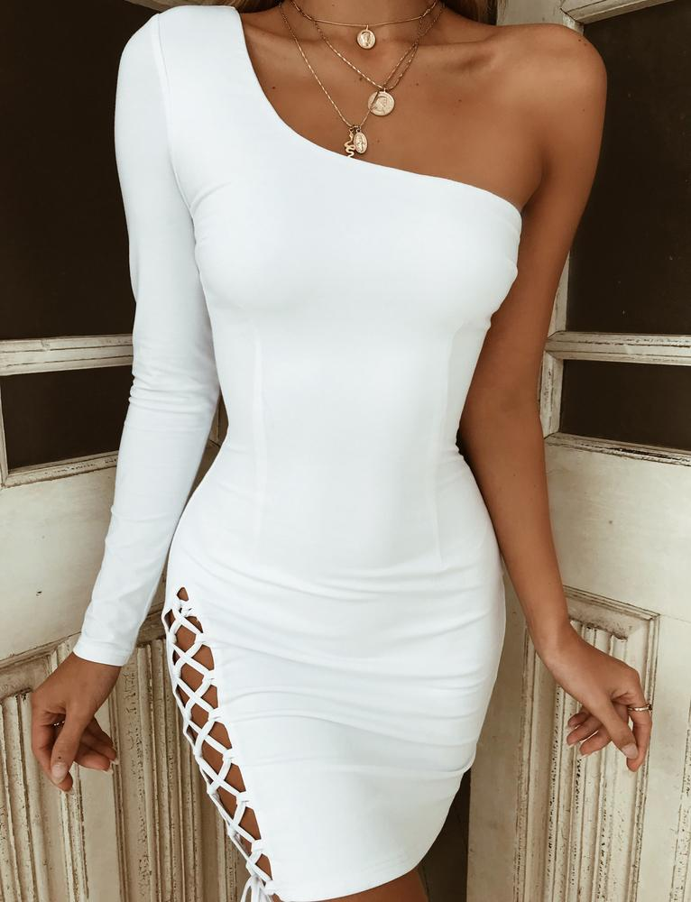 white asymmetrical dress
