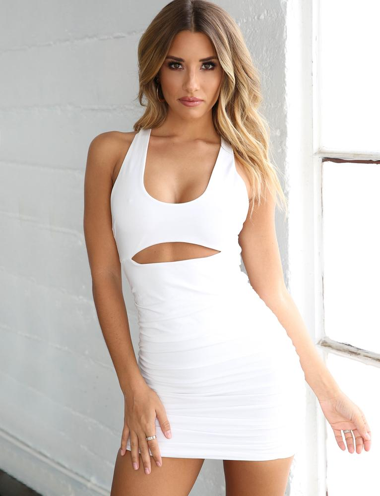 white cut out mini dress