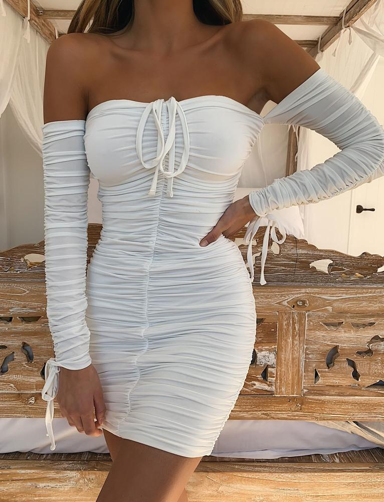 white long sleeve ruched dress