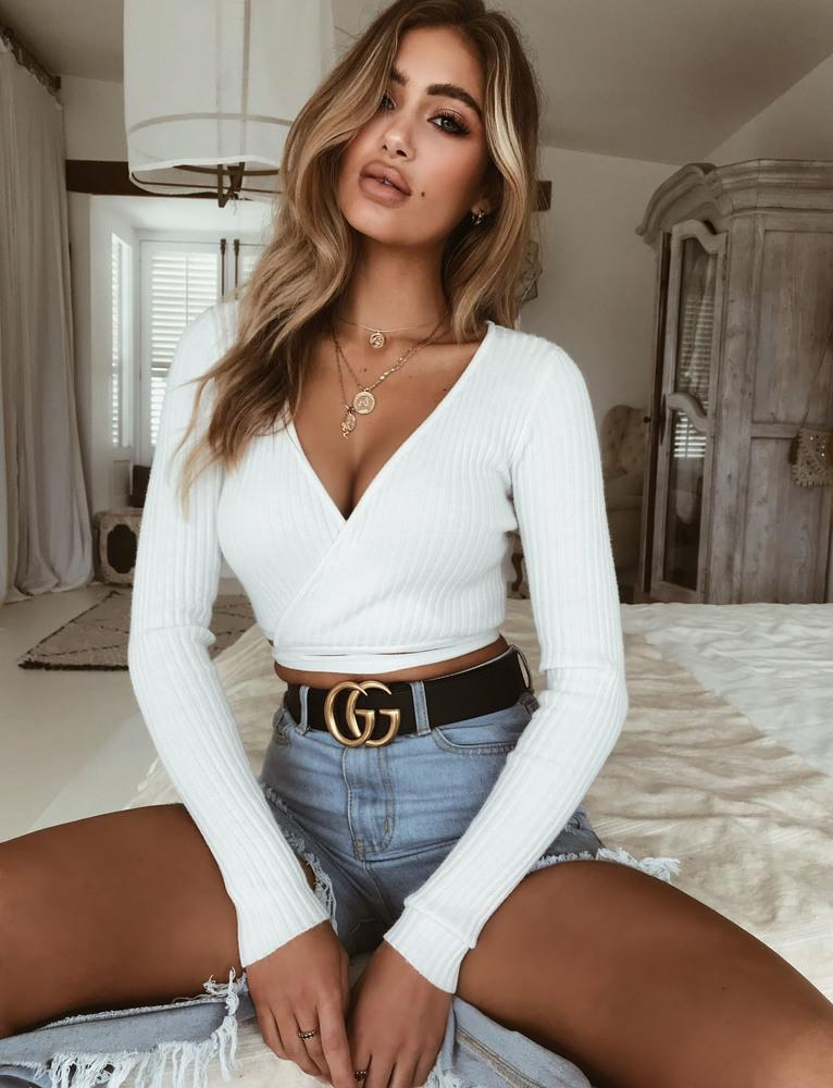 white long sleeve wrap top