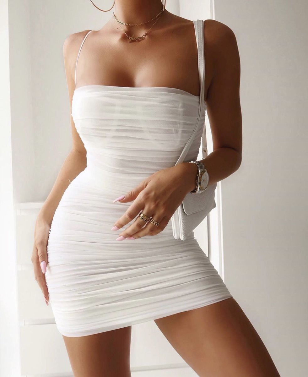 white mesh party dress