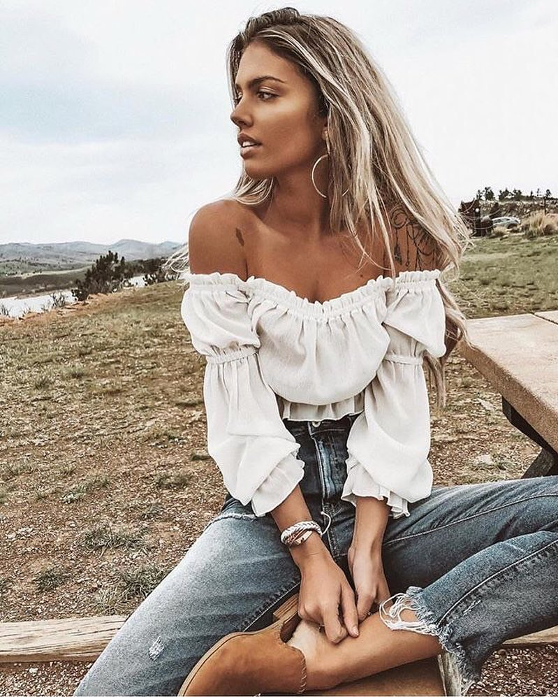 white off the shoulder long sleeve top